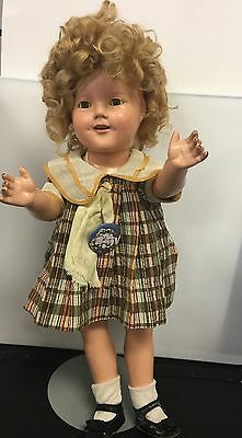 """Vintage Shirley Temple Doll 1930's Composite Early Original Wig Dress Slip 18"""""""