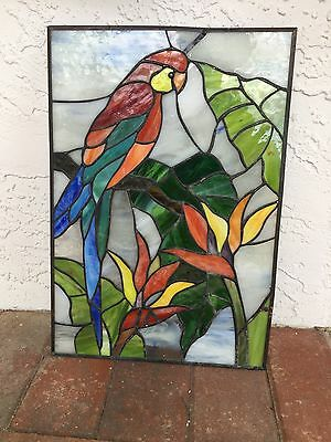 HAND CRAFTED STAINED GLASS TROPICAL Parrot BIRD WINDOW ~ 16 x 11