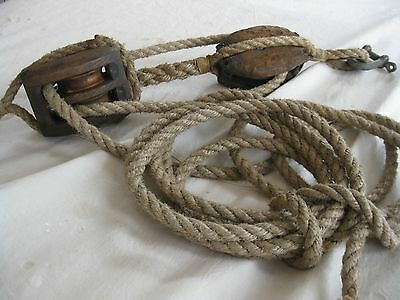LATE 1700's luff tackle (block and tackle with line)  REDUCED PRICE