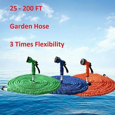 Expandable Flexible Garden Water Hose Nozzle Spray 25 200 Ft Deluxe Latex Expand