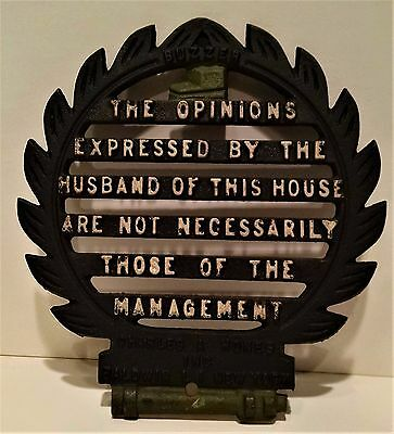 "Vintage Cast Iron ""The Opinions Expressed by the Husband"" TRIVET Charles A Hones"