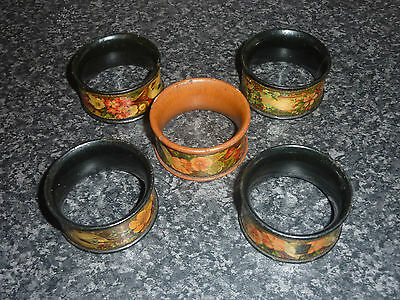 """Set Of 4+1 Victorian Compostion  Napkin Rings 2"""" Across X 1"""" High Ex Con"""