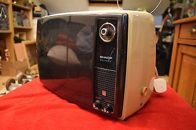 Vintage 1970s - Sharp 12P-17H Solid State Portable TV - Black and White