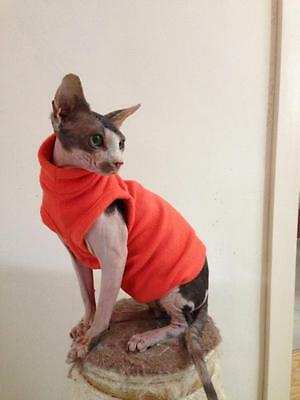 Orange Fleec Vest for Sphynx Cat - Hand Made by Sphynx Clothes – for Cats & Dogs