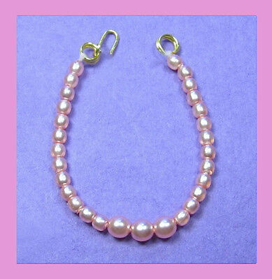 Dreamz LIGHT PINK Graduated Pearl Necklace Vintage REPRO Barbie Doll Jewelry
