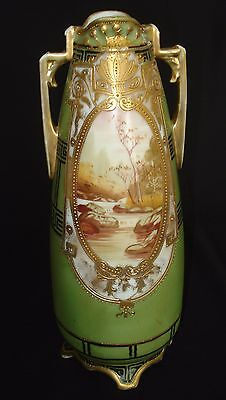 ANTIQUE AUTHENTIC NIPPON HAND PAINTED DOUBLE HANDLED VASE 12 in TALL