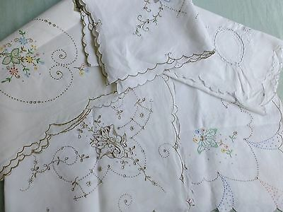 Qty vtg Madeira lace embroidered linen tea tablecloth x5 ideal events tea party