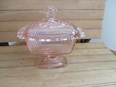 Vintage Indiana Glass Pink Open Lace Ribbed Pedestal Covered Candy Dish With Lid