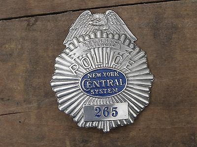 Antique New York Central System Railroad NYCRRCo Obsolete Police Clamshell Badge