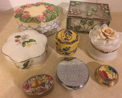 Lot 8-5 Vintage Floral Hammersley Jewellery Trinket Box & 3 Pill Pots Enamel Gc