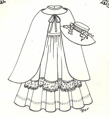 """Doll clothes SEWING PATTERN fits 23-24"""" dress cape hat apron cute 4 bjd SD 723"""