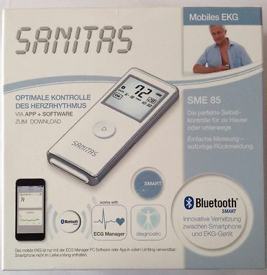 NEW SANITAS SME85 Mobile EKG, ECG monitor, Bluetooth smartphone connectivity.
