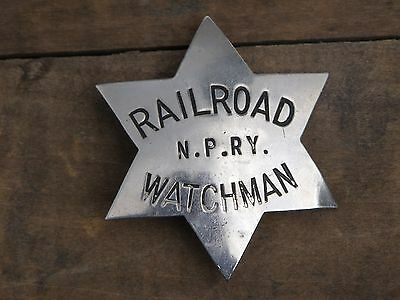 Antique N.P. Ry Northern Pacific Railway Obsolete Police Watchman 6 Star Badge