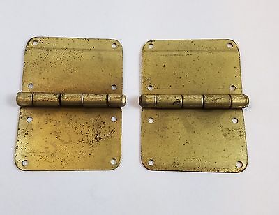 Vintage Brass Plated Pair of Steamer Trunk Hinges