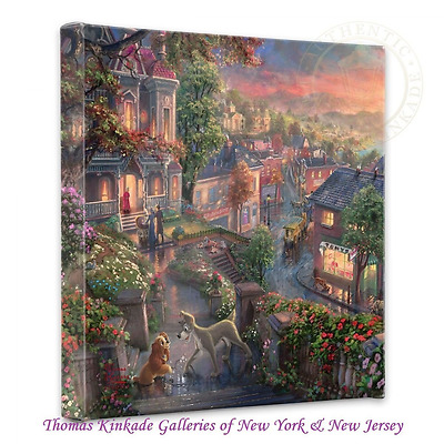 Thomas Kinkade Lady and the Tramp 14x14 Canvas Gallery Wrap