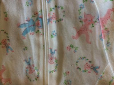 Adorable Vintage Baby Footed Sleeper with Zipper Closure For Baby or Reborn