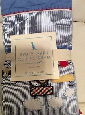 Pottery Barn Kids Ryder Train Small Nursery Crib Quilted Sham NWT Toddler