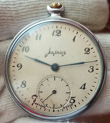 Molnija   Open Face Men's Old Pocket Watch Ussr - 18Jewels - For Repair