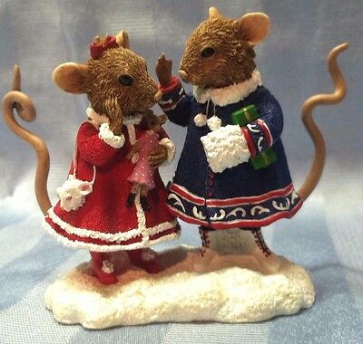 """Christmas Pipka 2002 3.5"""" Merry Mice Mabel & Millie Mouse 40021 MINT in Box CUTE"""