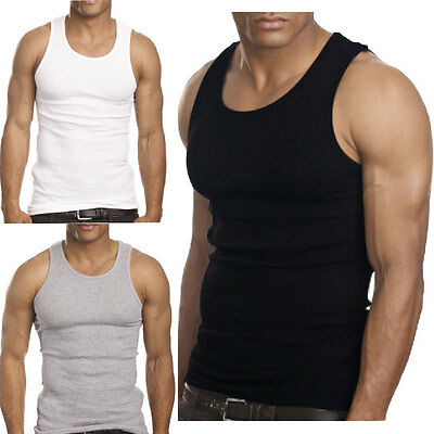 6 Packs For Mens 100% Cotton Tank Top A-Shirt Wife Beater Undershirt Ribbed