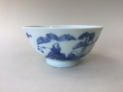Old Oriental Signed Blue and White Bowl - Fisherman Sitting on a Rock