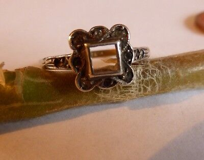 ART DECO Ring.Rose GOLD Shank with SILVER Settings,For Resetting 2 stones ����
