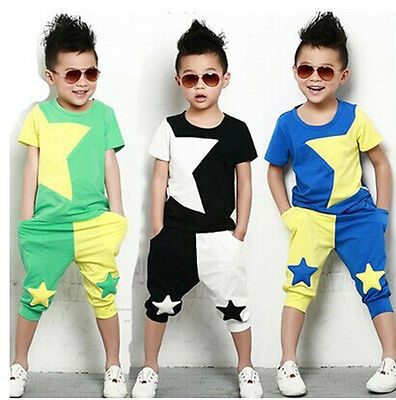 2Pcs Baby Boys Sportswear T-Shirt Tops + Shorts Set Kids Casual Clothes Outfits