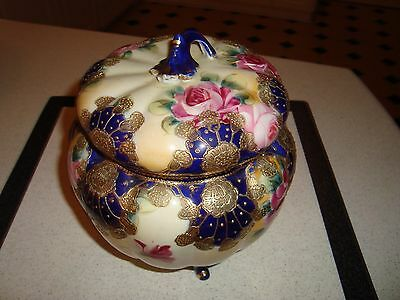 Nippon Antique Cookie Jar Many Beautiful Colors Measures 7 x 7 inches Excellent