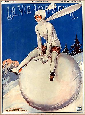 1925 La Vie Parisienne Snowball French France Travel Advertisement Art Poster