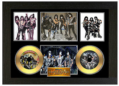 Kiss / Gene Simmons - A3 Signed Framed Gold Vinyl Collectors Cd Picture
