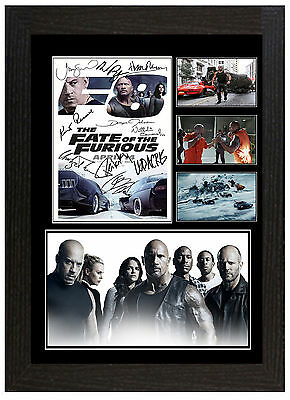 Fast And Furious 8 / Fate Of The Furious - A3 Signed Framed Collectors Display