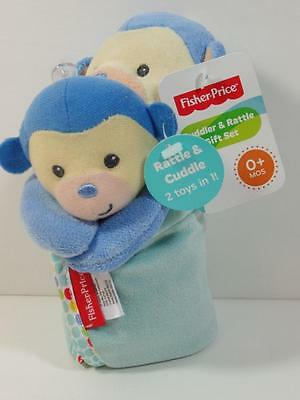 New Fisher Price 2 Pc Plush Blue MONKEY Rattle & Cuddler Security Blanket Set