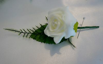 5 x Ivory Rose Crystal Wedding Buttonhole Package