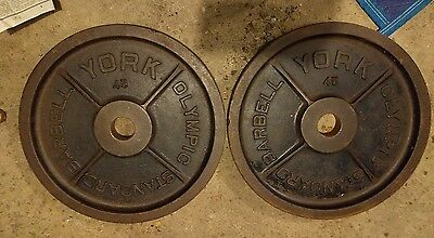 "Vintage York Barbell Olympic Milled 45 lb 45 Pounds Weight Plates Pair 2"" Lb lbs"