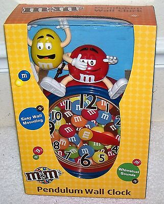 NEW NIB RARE HTF M & M's PENDULUM WALL CLOCK w/ WHIMSICAL SOUNDS RED AND YELLOW