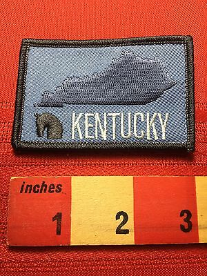 Kentucky Patch ( Hook & Loop Back ) Horse Silhouette And State Map Outline 76Z5