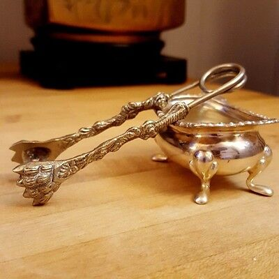 Antique Italian 800 Silver Sugar Cube Tongs Figural Lion's Claw Paw Heavy Ornate