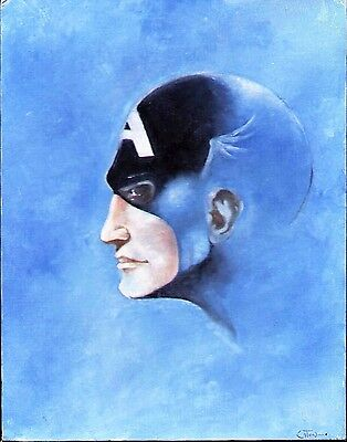 1970's CAPTAIN AMERICA ORIGINAL OIL PAINTING CANVASBOARD PAINTED ART TERRY EATON