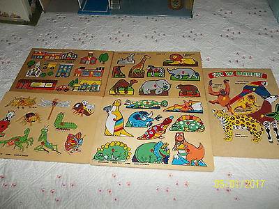 Lot of 5 EUC Toddlers Wooden Peg Puzzle Educational Puzzle Toy With Knobs $19.95