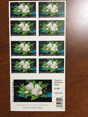 U.S. Stamps #3872a Giant Magnolias Flower Booklet Pane of 20 Double sided