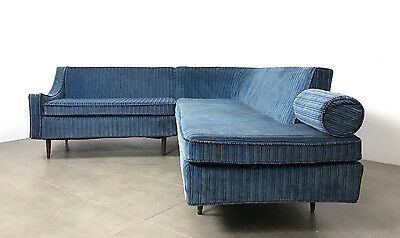 Vintage Milo Baughman Blue Curved Mid Century Modern Sectional Sofa Coggin James