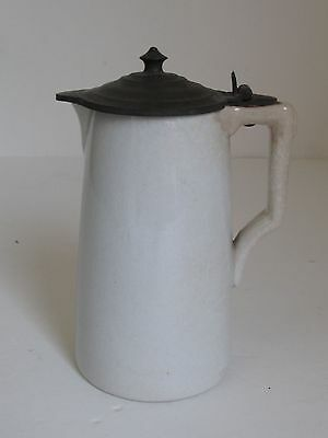 Antique Ironstone Syrup Pitcher with Pewter Lid Knowles & Taylor