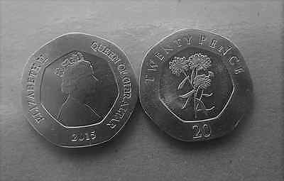 Gibraltar. 2015. Coin. Twenty Pence. Cundytuft Flowers. Uncirculated.