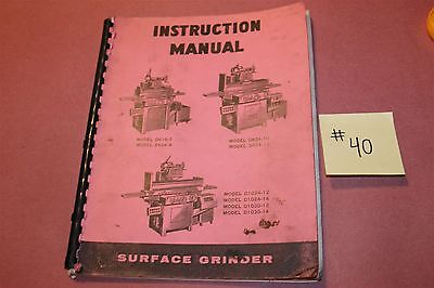 DoAll Surface Grinder Do All Operation Manual D618-7 D624-8 D1024-12/14 Lot # 40