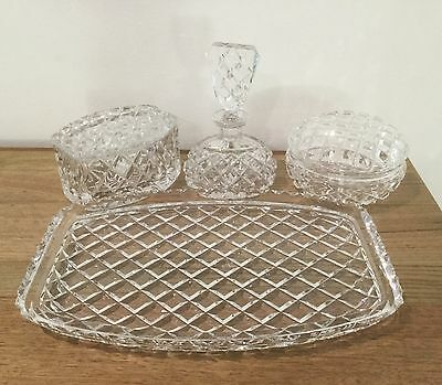 Beautiful Vintage Lead Cut Crystal  Dressing Table  Set Of 6 Pcs.