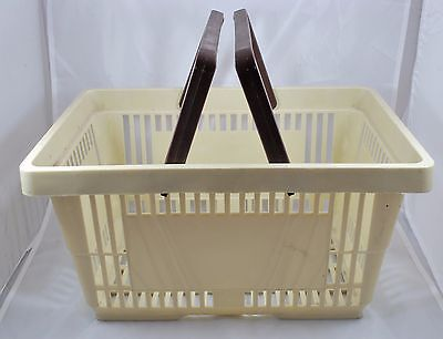 Plastic Grocery Store Shopping Basket Pretend Play Yarn Toys Beige