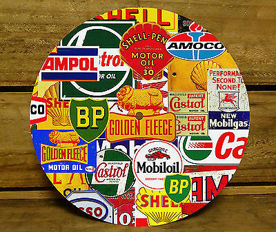 190MM x 5MM MDF CLOCK FACE - PETROL OIL COLLAGE