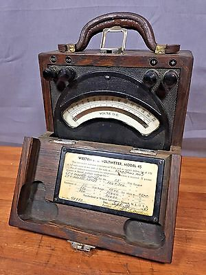 Vintage Weston Electrical Instrument Corp DC Voltmeter Millivolts Model 45 wood
