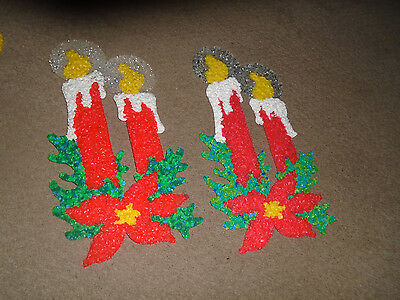 2 Vintage Christmas Candles Melted Plastic Popcorn