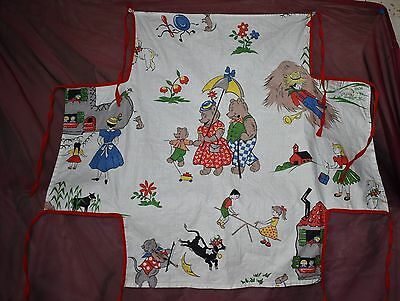 Vintage Child's APRON Mother Goose Nursery Rhyme material red binding